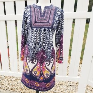 Pink Paisley navy blue yellow long sleeve dress